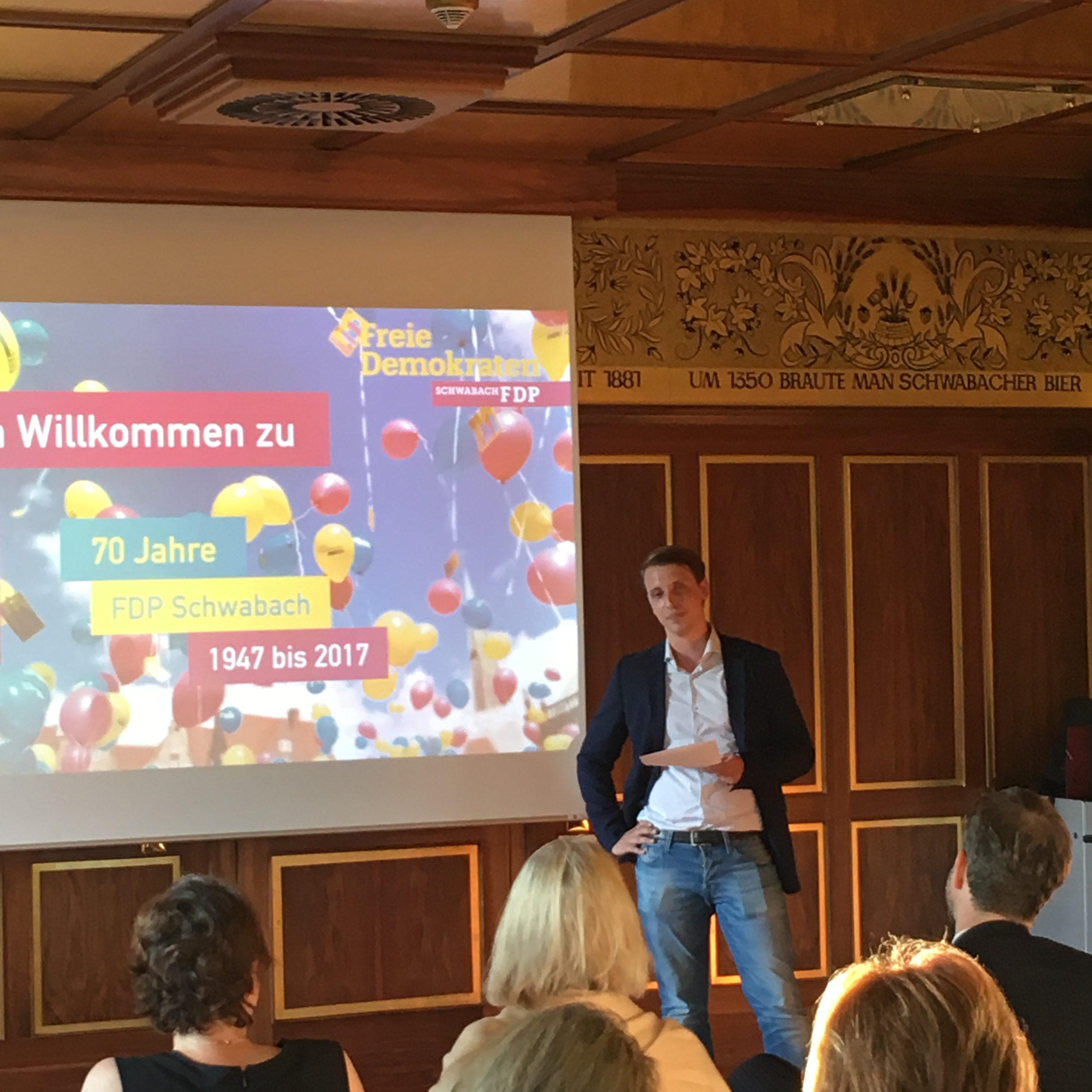 Axel Rötschke bei der 70 Jahrfeier der FDP Schwabach